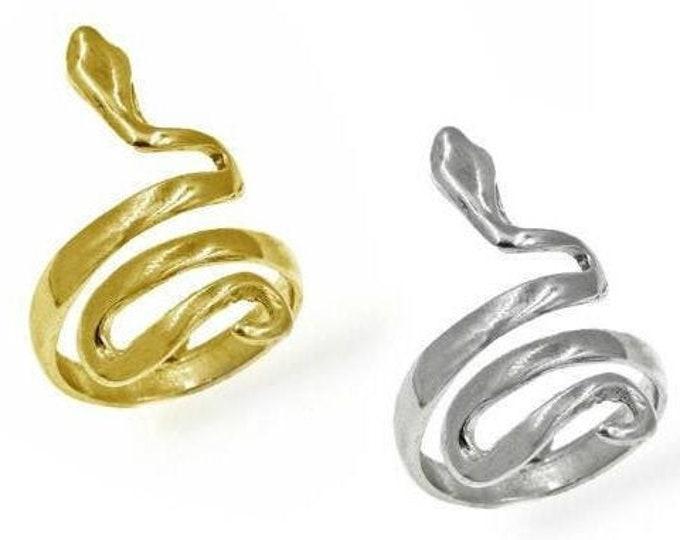 Featured listing image: Snake Ring, Serpent Ring, 14k Gold Filled Ring, Sterling Silver Ring, Wrap Ring, Spiral Snake Ring, Greek Ring, Adjustable Ring, Spiral Ring