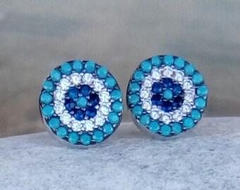 Zircon Evil Eye Earrings