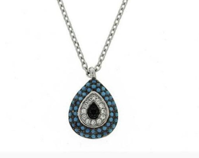 Turquoise Evil Eye Necklace, Cubic zirconia necklace, evil eye charm, blue evil eye, necklace for girlfriends, 925 sterling silver