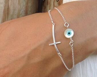 Layered Sideways Cross Round Evil Eye Bracelet