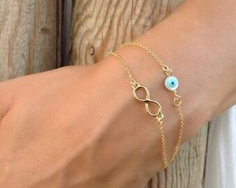 Layered Infinity, Circle Evil Eye Bracelet