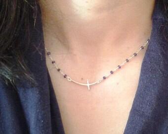Amethyst Rosary, Sideways Cross Necklace