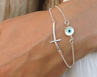 Layered Sideways Cross Round Evil Eye Bracelet