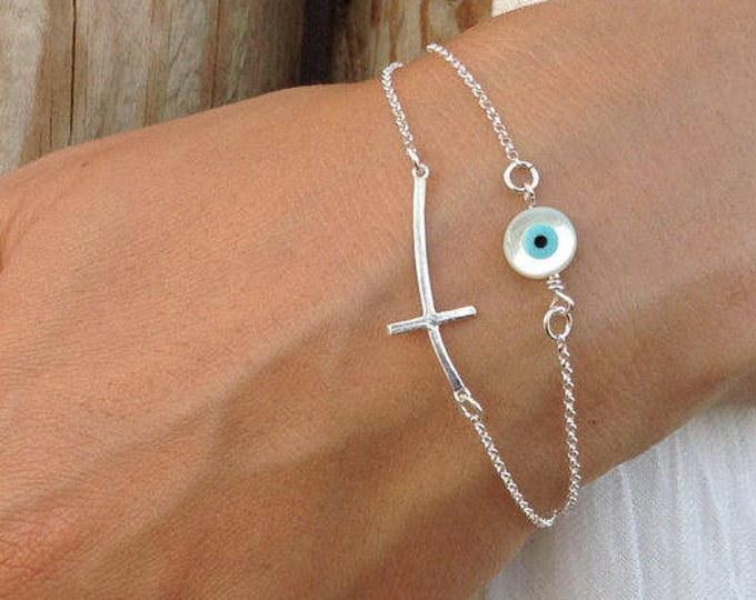 Evil eye bracelet, 925 sterling silver, sideways cross & evil eye, layered bracelet, dainty protection bracelet, gifts for her
