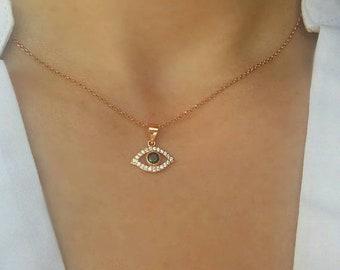 Almond White Zircon Evil Eye Necklace