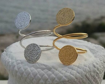 Phaistos Disc Ring 14k Gold Filled or Sterling Silver, Double Adjustable Ring, Greek Phaistos Ring, Ελληνικό Δαχτυλίδι με Δίσκο Φαιστού