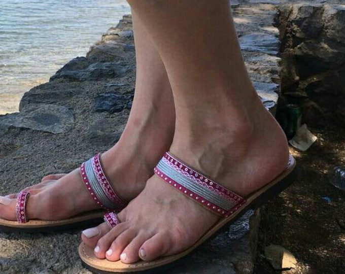 FREE SHIPPING, Boho Summer Sandals, Greek Leather Sandals, Decorated Sandals, Boho Chic Sandals, Slip On Sandals, Genuine Leather Sandals