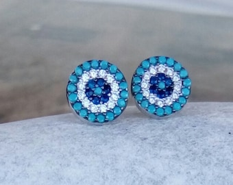 Zircon Evil Eye Earrings