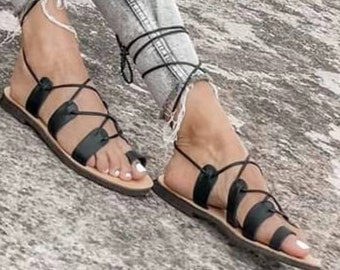 Gladiator Sandals, Black Chic Sandals, Hippie Sandals, Handmade Greek Sandals, Genuine Leather Sandals, Handmade Summer Shoes