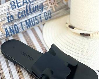 Black Sandals, Leather Sandals, Slip on Sandals, Handmade Greek Sandals, Genuine Leather Sandals, Flat Sandals, Slingbang Sandals