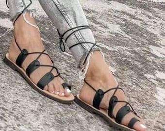 Gladiator Sandals, Black Chic Sandals, Hippie Sandals, Handmade Greek Sandals, Genuine Leather Sandals, Black Leather Sandals
