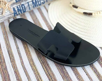 Black  Sandals, Leather Sandals, Slip on Sandals, Handmade Greek Sandals, Genuine Leather Sandals, Handmade Summer Shoes, Flat Sandals