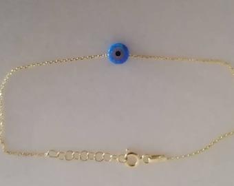 Solid Gold Opal Bracelet, Opal Evil Eye Bracelet in 14k Solid Gold,  Protection Charm, Blue Evil Eye Bracelet, Evil Eye Bead Bracelet