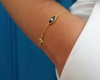 Cross Black Evil Eye Bracelet
