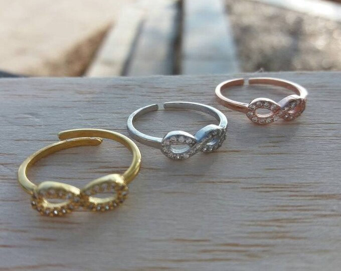Infinity ring, gold ring, Cubic zirconia, everyday ring, stacking ring, protection ring, 925 sterlig silver, gold filled or rose gold filled