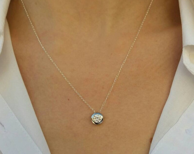 Floating Diamond Necklace, Cubic Zirconia, Sterling Silver Necklace, Everyday Necklace, Bridesmaid Gift, Bridal Jewelry, Chic Collier