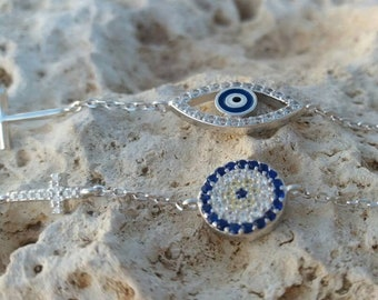 Blue Evil Eye Cross Bracelet
