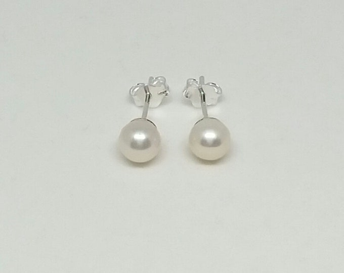 Pearl Earrings, Silver Pearl Earrings, Stud Pearl Earrings, Anniversary Gift, Wedding Earrings, Bridal Jewellery, Chic Bijou