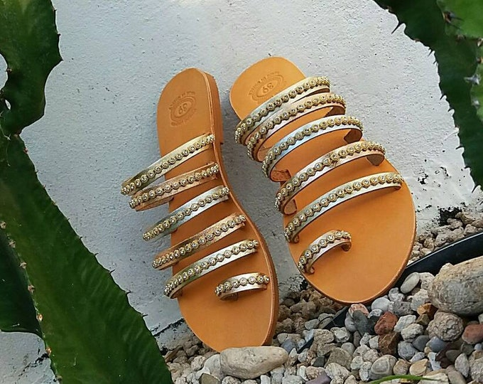 FREE SHIPPING, Wedding Sandals, Greek Sandals, Chic Decorated Sandals, Genuine Leather Sandals, Ancient Greek Sandals, Greek Handmade
