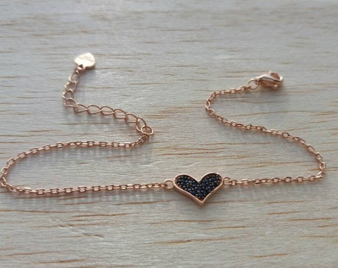 Heart Bracelet - Rose Gold Filled Bracelet - Birthday Gift - Cubic Zirconia Bracelet  - Best Gifts for Women