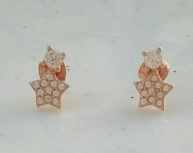Rose Gold Stud Earrings with Stars, Drop Earrings, Cubic Zirconia Earrings, Dainty Jewellery, Anniversary Gift, Bridesmaid Gift, Chic