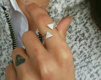 Arrow Ring, Adjustable Ring, Silver Ring, Cubic Zirconia Ring, Diamond Ring, Double Ring