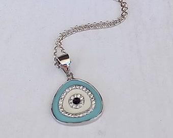 Blue Evil Eye Necklace, Dainty  Silver Necklace, Round Evil Eye, Summer Evil Eye Necklace , Layering Necklace, Chic Collier, Oval Evil Eye