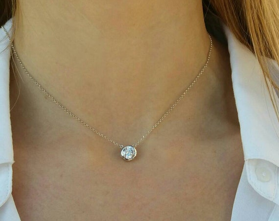 Solitaire Diamond Necklace - Silver Necklace - Cubic Zirconia Choker - Diamond Bezel - Dainty Bridal Jewelry - Bridesmaid Gift