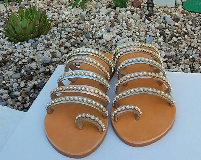 Decorated Sandals, Greek Sandals for Bride, Greek Handmade Leather Sandals, Ancient Greek Sandals, Genuine Leather, Girlfriend Gift