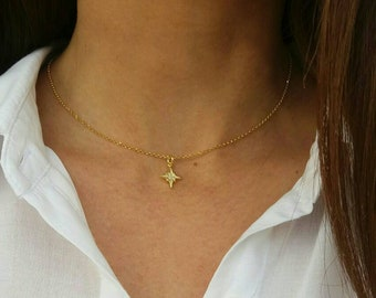 Northern star necklace, gold necklace, gold northern star necklace, 14k gold filled necklace, dainty necklace, birthday gift