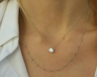 Layered Dew Drops&Floating Diamond Necklaces Set