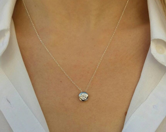 Floating Diamond Necklace - Bridesmaid Gift - 925 Sterling Silver Necklace - Cubic Zircon Diamond - Wedding Jewelry - Anniversary Gift