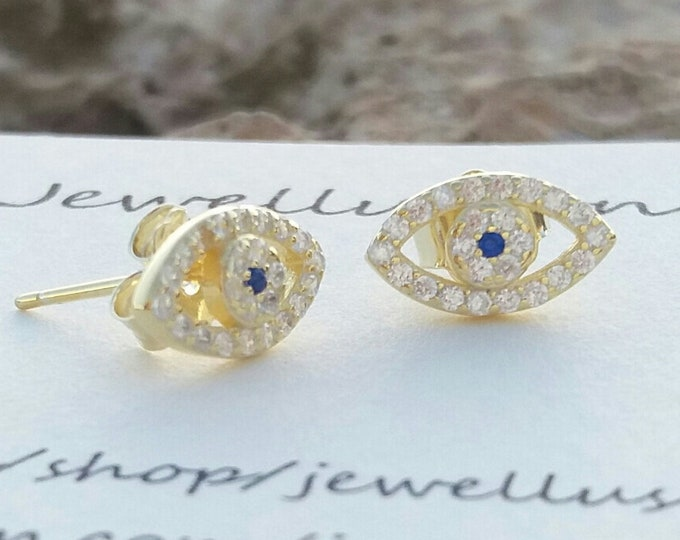 Evil Eye Earrings, Stud Earrings, 14k Gold Filled, Cubic Zirconia, Protection Jewellery, Everyday Earrings, Bridesmaid Gift, Dainty Earrings