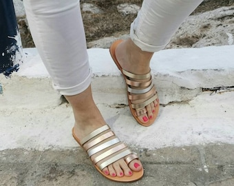 Rose Gold Silver Leather Sandals