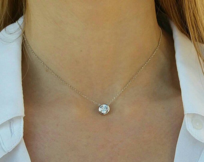 Featured listing image: Solitaire Diamond Necklace