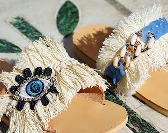 Greek Leather Sandals, Evil eye Sandals, Decorated Sandals, Boho Sandals, Women Sandals, Handmade Shoes, Summer Shoes, Bohemian Sandals