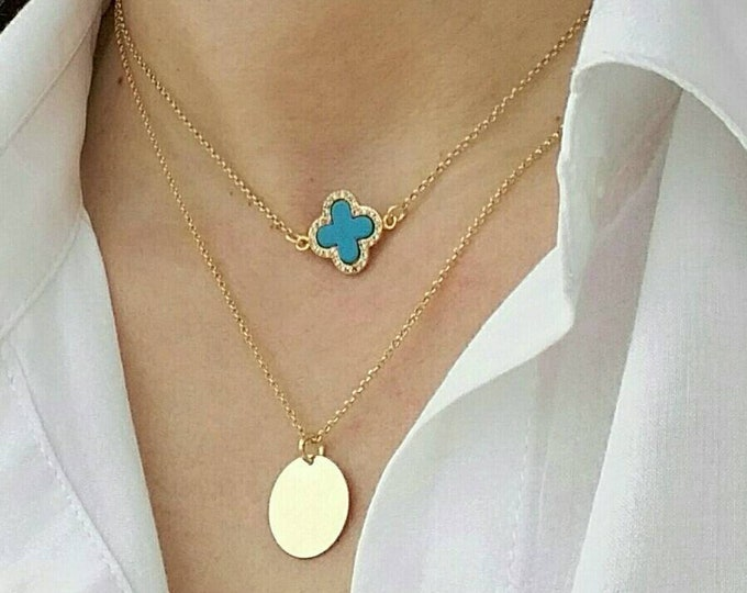 LAYERED CLOVER NECKLACE 14K GOLD FILLED