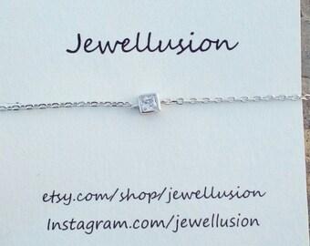 Solitaire Cube Diamond Bracelet