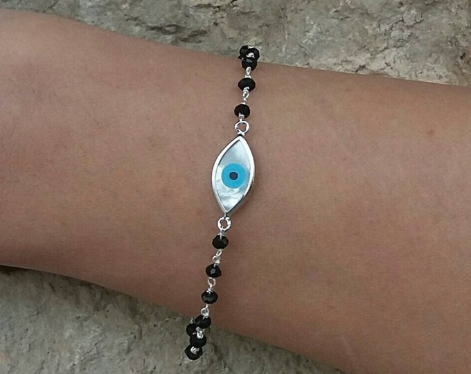 EVIL EYE BRACELET, BLACK ONYX BEADED BRACELET