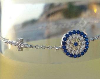 Blue Evil Eye Cross Bracelet