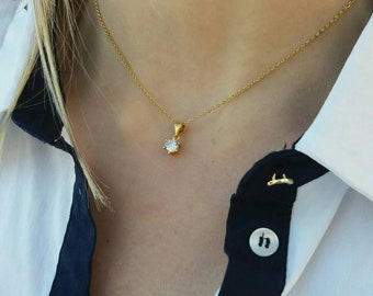 Floating Diamond Necklace Gold, Cubic Zirconia Necklace, Dainty Single Diamond Necklace, Everyday Jewelry, Anniversary Gift, Bridesmaid Gift
