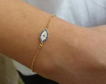 Evil Eye Bracelet Gold, Blue Evil Eye, Dainty Bracelet, 14k Gold Filled, Minimalist Bracelet, Protection Bracelet, Bridesmaid Gift, Chic