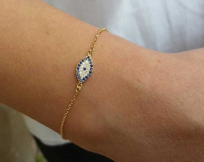 Dainty Evil Eye Bracelet Gold, Blue Evil Eye, 14k Gold Filled, Protection Charm, Sister Gift