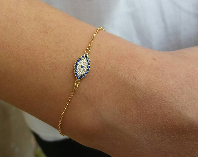 Gold Evil Eye Bracelet, Blue evil eye, Dainty Gold Bracelet, 14k Gold Filled Chain, Protection Charm, Elegant jewellery, Chic bracelet