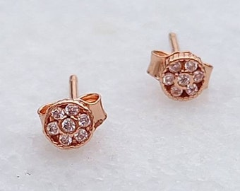 Tiny Rose Gold Stud Earrings, Cubic Zirconia Earrings, Dainty Jewellery, Anniversary Gift, Bridesmaid Gift, Chic