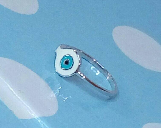 Light Blue Evil Eye Ring, Silver Ring, Fish Ring, Protection Ring, Dainty Ring, Sister Gift, Gift for bff, Beachwear Jewellery, Chic