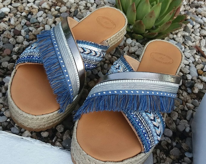 Luxurious Sandals, Blue Boho Chic Sandals, Glamourous Sandals, Blue Silver Shoes, Women Platforms, Decorated Platforms, Handmade in Greece