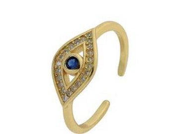Almond Evil Eye Ring