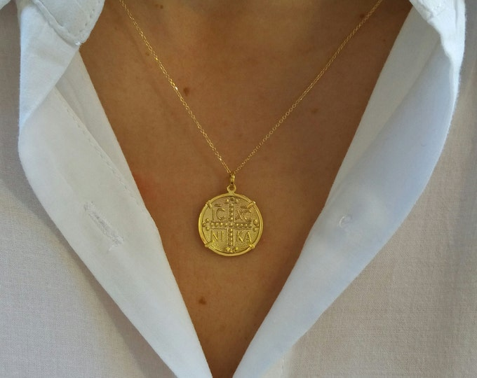 Featured listing image: Solid Gold Constantine Coin Necklace, Solid Gold Christian Necklace, Constantinato 14k Gold Necklace, Byzantine Cross Necklace,ICXN Necklace