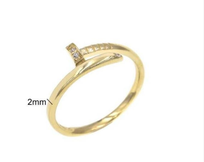 Nail Ring 14k Gold Filled, Stacking Ring, Screw Ring, Dainty Everyday Ring, Valentine's Day Gift gift, Sterling Silver, Rose Gold Filled